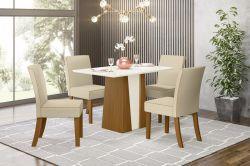 Conjunto de Mesa Orus Quadrada Com 4 Cadeiras Maris
