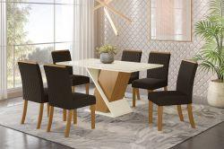 Conjunto de Mesa Solus Retangular Com 6 Cadeiras Vega