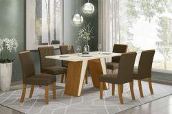 Conjunto de Mesa Kenya Retangular Com 6 Cadeiras Vega