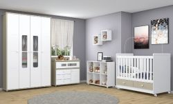 Baú Aquarela Quarto Infantil - Branco