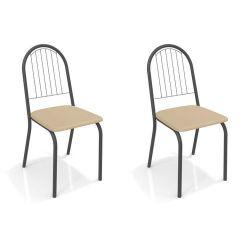 Kit 2 Cadeiras Noruega Preto Fosco 2C077 - Kappesberg