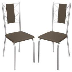 Kit 2 Cadeiras Lisboa Cromada 2C076 - Kappesberg