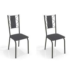 Kit 2 Cadeiras Lisboa Preta 2C076 - Kappesberg