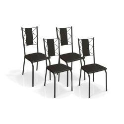 Conjunto Mesa Quadrada TAV9061 Com 4 Cadeiras Lisboa 2C076 - Kappesberg
