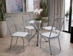 Conjunto Mesa com Tampo redondo TAV9561 e 4 Cadeiras Viena 2C072 - Kappesberg