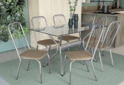 Conjunto Mesa Loire com Tampo Retangular TAV1461 e 6 Cadeiras Viena 2C072 - Kappesberg