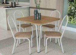Conjunto Mesa Quadrada F090 Com 4 Cadeiras Silla Noruega  2C077 - Kappesberg