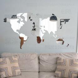 Espelho decorativo em acrílico mapa mundi - 120x57cm