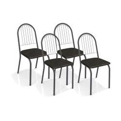 Conjunto de Mesa Volga com Tampo Quadrado e 4 Cadeiras Noruega  Preto fosco - Kappesberg