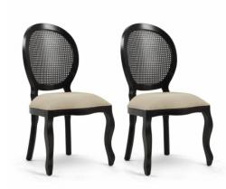 Cadeira Medalhão Sem Braço - Cor Preto Provençal - Tecido 407 KIT (2 UN)