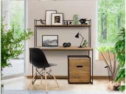Home Office Linha Minimalista com 1 Escrivaninha, 2 Cadeiras  e um Gaveteiro