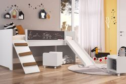 Cama Playground C/ Escorregador E Rampa Com 02 Nichos Branco