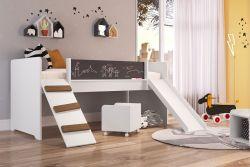Cama Playground C/ Escorregador E Rampa Branco