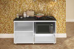 Balcao Para Cooktop 4b E Micro Com 02 Portas Branco E Tampo Granito
