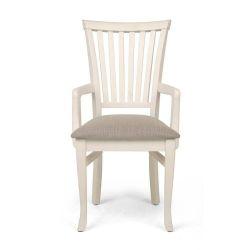 Cadeira Espanha C/ Braco - Cor Branco Provencal - Tecido Linho