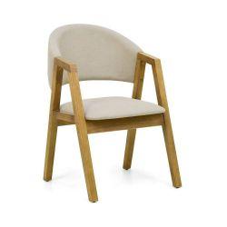 Cadeira de Madeira Maciça Estofada Malai - Cor Oregon