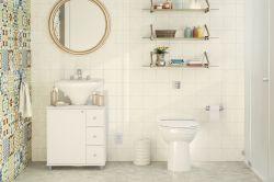 Balcão para banheiro 1 porta 3 gavetas 3 prateleiras Branco Politorno
