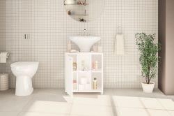 Balcão para banheiro 2 portas 3 prateleiras Branco Politorno