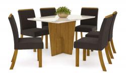 Mesa Vértice 1,20 com 6 Cadeiras Vega  - Marrom
