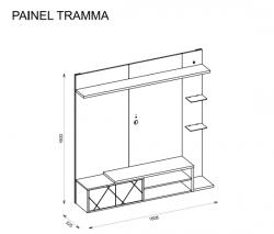 PAINEL TRAMMA prateleira com LED para TV 55 polegadas Jatobá OFF White