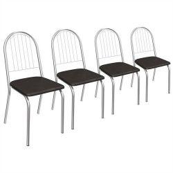 Kit 4 Cadeiras Noruega Cromada 4C077 - Kappesberg
