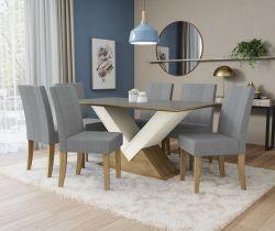 Conjunto Mesa Amora CSJ718FR-A018 Com 6 Cadeiras  - Kappesberg