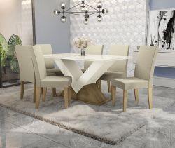 Conjunto Mesa Amora CSJ821FR-A019 Com 6 Cadeiras  - Kappesberg