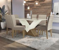 Conjunto Mesa Amora CSJ682FR-A016 Com 6 Cadeiras  - Kappesberg