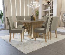Conjunto Mesa Bardana CSJ728FR-A016 Com 6 Cadeiras  - Kappesberg