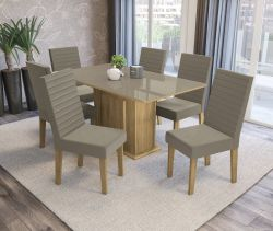 Conjunto Mesa Acerola CSJ404FR-A016 Com 6 Cadeiras  - Kappesberg