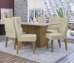 Conjunto Mesa Cidra CSJ502FR-A019 Com 6 Cadeiras - Kappesberg