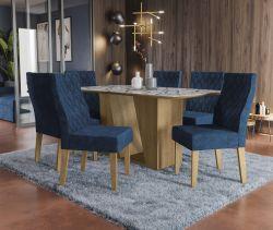 Conjunto Mesa Romã CSJ424FR-D008  Com 6 Cadeiras - Kappesberg