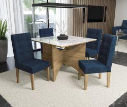 Conjunto Mesa Camomila CSJ412FR-D008 Com 4 Cadeiras - Kappesberg