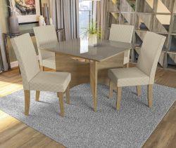 Conjunto Mesa Camomila CSJ654FR-A021 Com 4 Cadeiras - Kappesberg
