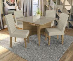 Conjunto Mesa Camomila CSJ823FR-A019 Com 4 Cadeiras - Kappesberg