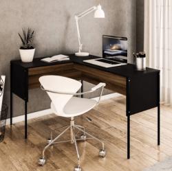 Mesa de escritório Maiorca de canto pés de metal Preto/New Avelã Politorno
