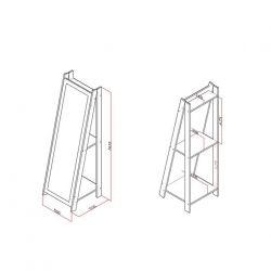 Espelho de Chão com 2 Prateleiras Retrô RT 3083 Movelbento