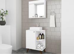 Balcão Para Banheiro  com espelho Movelbento Retrô 1 Porta 60x80cm Branco