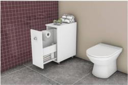 Gabinete para Banheiro 1 Porta de Correr Branco BCM116 Movelbento