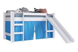 Cama Elevada Com Escorregador Branco Com Impressao Azul