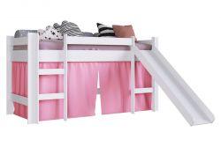 Cama Elevada Com Escorregador Branco Com Impressao Rosa